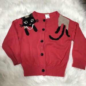 Gymboree pink peach color cardigan with cat print.